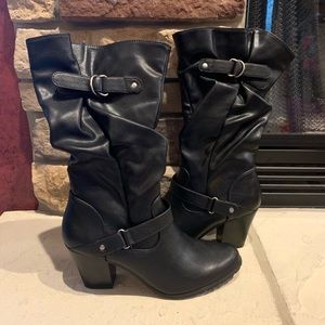 Apt 9 Black High Heel Boots with belt accents